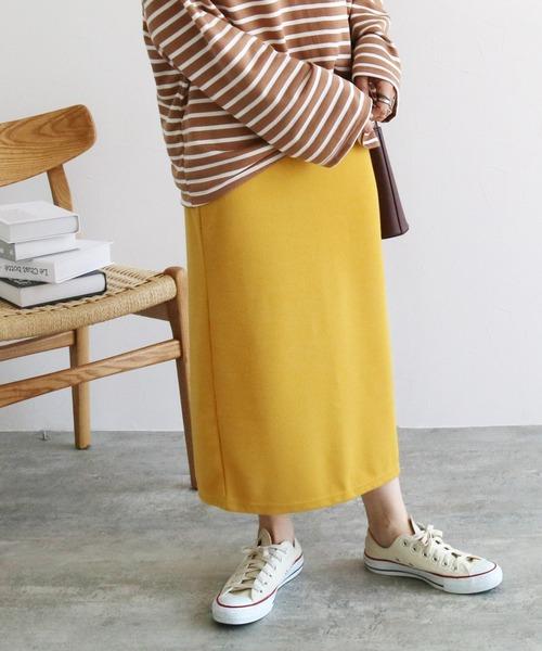 reca(レカ)の「ウエストゴムリブスウェットスカート(スカート)」|マスタード