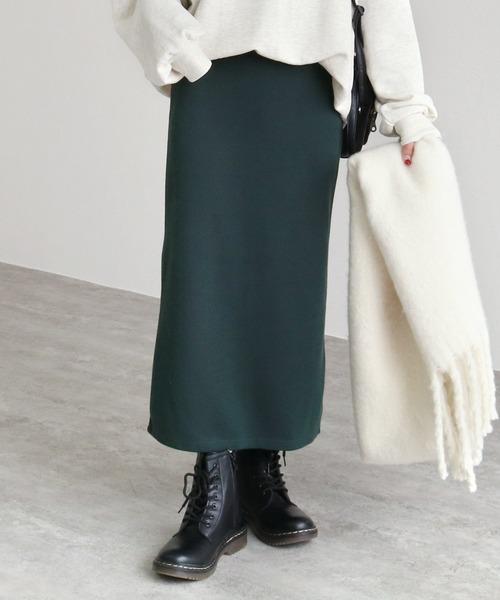 reca(レカ)の「全7色ウエストゴムリブスウェットスカート(スカート)」|ダークグリーン