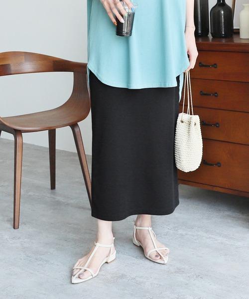 reca(レカ)の「ウエストゴムバックスリット リブスカート(スカート)」|ブラック