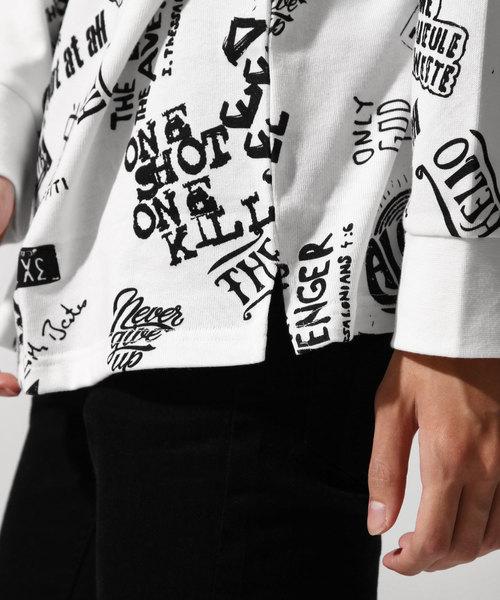 ロゴ総柄L/STシャツ