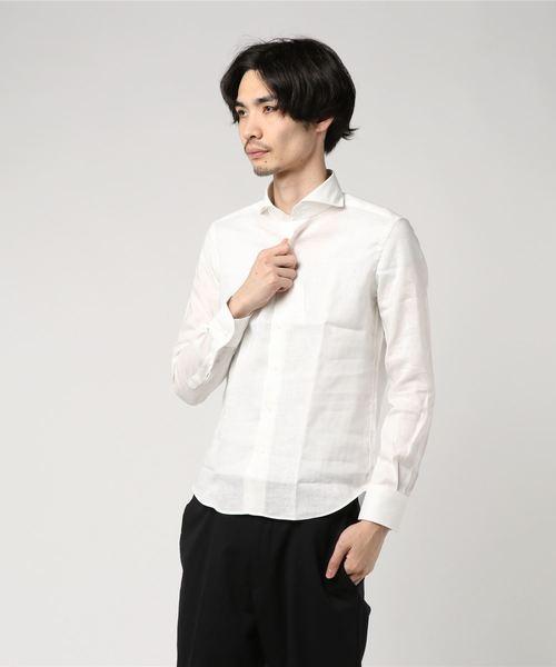 EASY IRONリネンカッタウェイシャツ