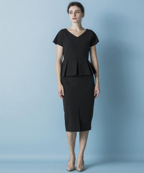 Emma Taylor(エマテイラー)の「【STYLEBAR】ニューペプラムドレス(ワンピース)」|ブラック