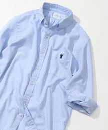 ドットプリントオックスフォード7分袖シャツ