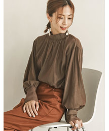 Re:EDIT(リエディ)の【安田美沙子さん×Re:EDIT】ハイネックバルーンスリーブシャツ(シャツ/ブラウス)