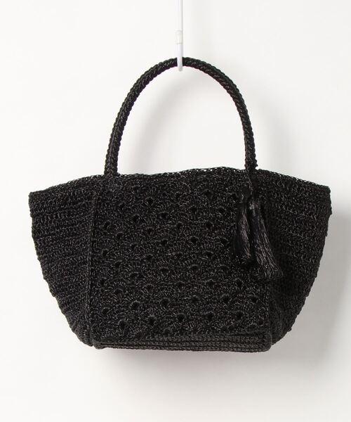 カシュカシュ cachecache / メタリックコードヤーン柄編みスクエア型トートバッグ
