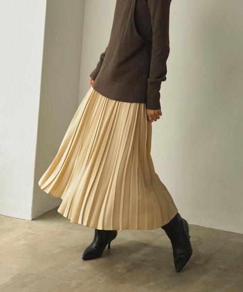 <EMMEL REFINES(エメル リファインズ)>EM HW オヤコプリーツ ロングスカート  / プリーツスカート−ウォッシャブル−