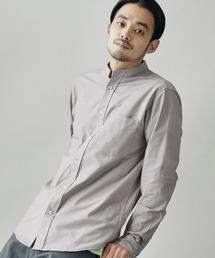 MONO-MART(モノマート)のバンドカラー ハイストレッチ L/S オックスフォード シャツ(シャツ/ブラウス)