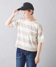 CUBE SUGAR(キューブシュガー)の空紡糸天竺ボーダーボトル入りビッグTシャツ  ボトルTee(Tシャツ/カットソー)