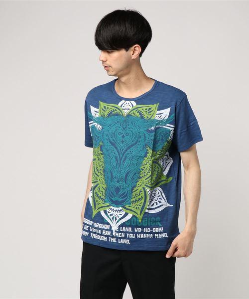 【チャイハネ】トライバルブルメンズTシャツ