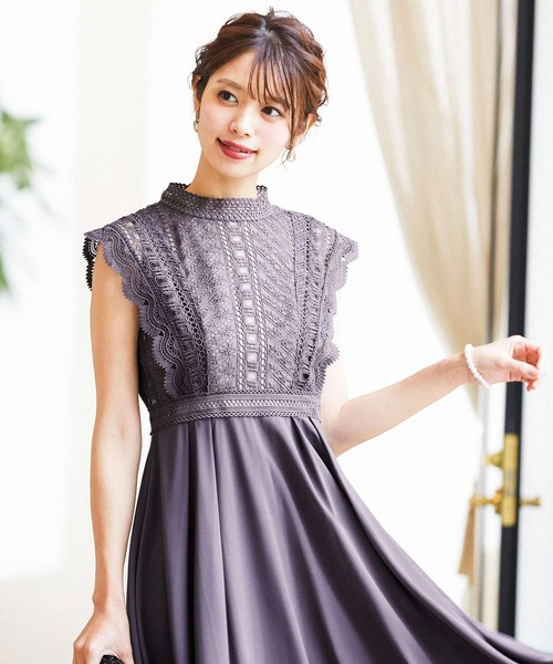Fashion Letter(ファッションレター)の「レース切り替えバックスピンドル 結婚式ワンピース パーティードレス(ドレス)」 チャコールグレー