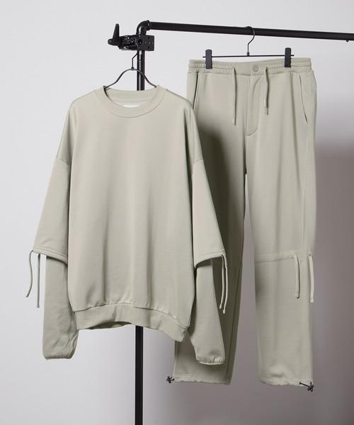 【セットアップ】ビッグシルエット クオリティーブライト裏毛 レイヤードプルオーバースウェット&ドローコードスウェットパンツ EMMA CLOTHES 2020AW