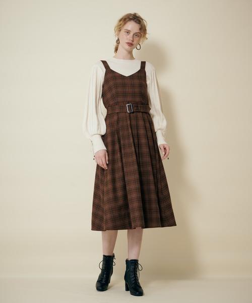 ベルトツキチェックジャンパースカート