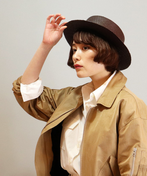:ST:天然素材 リボンカンカン帽
