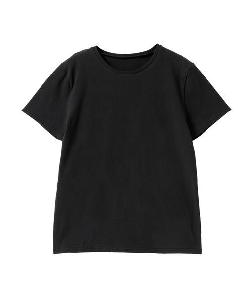 綿混ストレッチシンプルクルーorVネックTシャツ