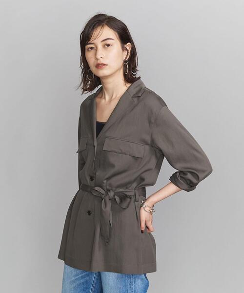 BY オープンカラーベルトシャツジャケット ◆