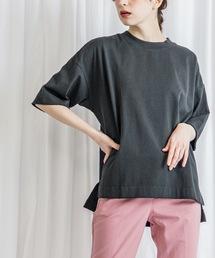 オーバーサイズクルーネックTシャツチャコールグレー