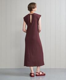 <H>COTTON RIB LONG DRESS/ワンピース