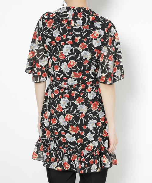 GHOSPELL/Wrap Dress With Split Sleeves