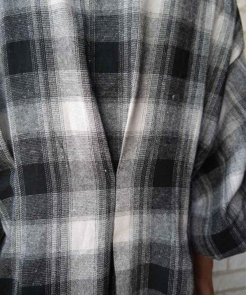 ボリューム袖チェック8分袖シャツワンピ