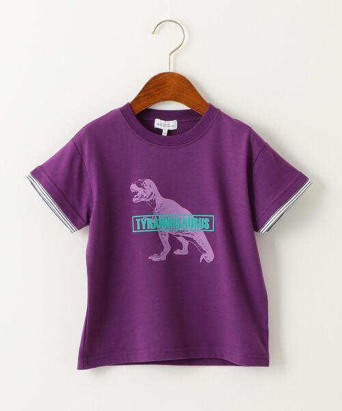 〔吸水速乾〕恐竜プリント ソデボーダーTシャツ