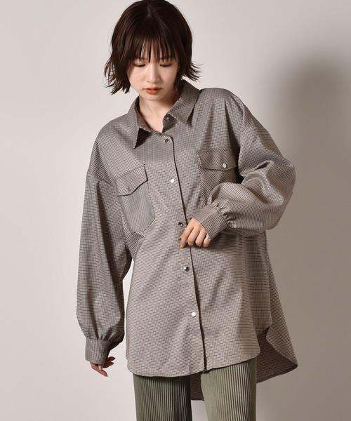 ドット釦チェックシャツ