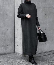 【CIENA】タートルネックオーバーニットワンピースブラック