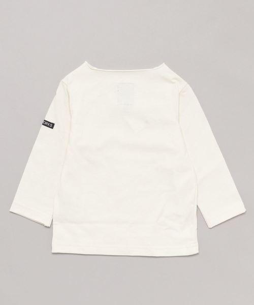 キッズ 天竺無地 9分袖ロングボトルネックTシャツ