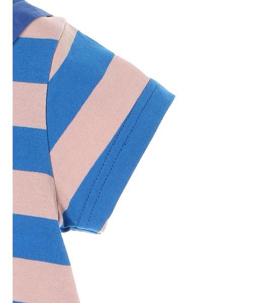スカーフ襟ボーダー半袖ワンピース