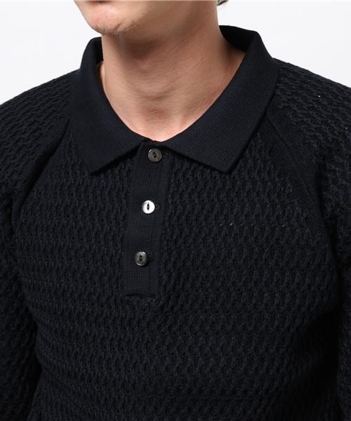 [G&F Co. / ジーアンドエフコー] コットンニットポロシャツ