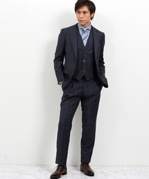 エムエフエディトリアルメンズ/m.f.editorial:MEN ×ATSURO TAYAMA ロロ ピアーナ/Loro Piana チェック柄チャコールグレー 3ピースビジネスセットアップスーツ(セットアップ)