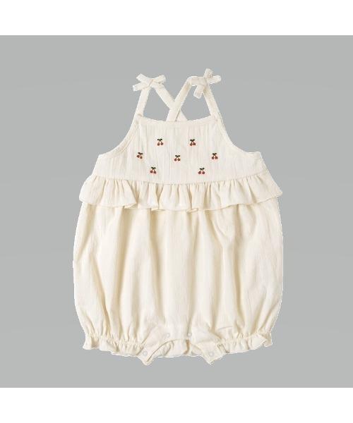 10mois チェリー刺繍ロンパース