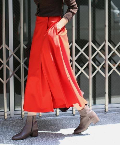 IENA(イエナ)の「ハード圧縮フレアスカート◆(スカート)」|レッド