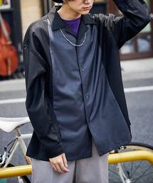 古着MIX バイカラー/切替え オープンカラーオーバーサイズシャツブラック