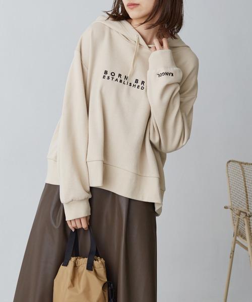 KANGOLカンゴール別注 ロゴ刺繍 ワイドフードスウェットパーカー