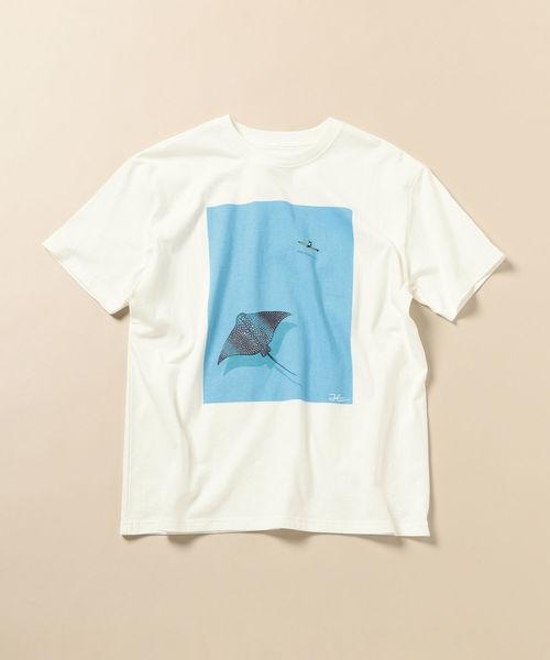 SHIPS(シップス)の「JONAS CLAESSON: 別注 EAGLE RAY Tシャツ(Tシャツ/カットソー)」|ライトホワイト