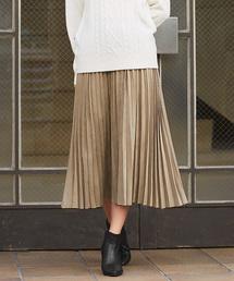Pierrot(ピエロ)のスエードタッチプリーツスカート(スカート)