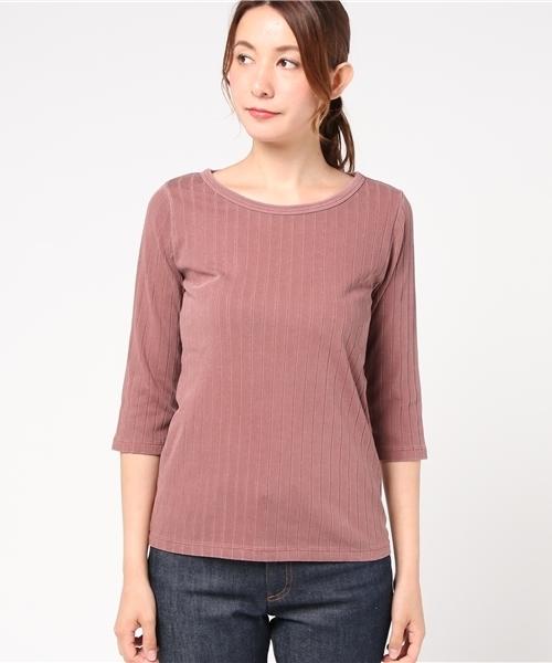 SLOBE IENA(スローブイエナ)の古着「7分袖カットソー(Tシャツ/カットソー)」|ピンク