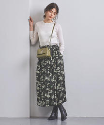 <SACRA(サクラ)>フラワープリント ギャザースカート