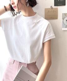 classicalelf(クラシカルエルフ)の無地ミドル丈クルーネックフレンチラグランモックネックTシャツ(半袖)(Tシャツ/カットソー)