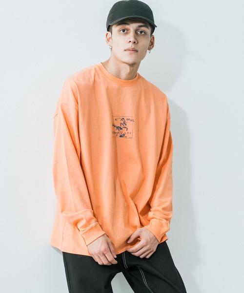 Mark Gonzales(マーク?ゴンザレス)の「Mark Gonzales/マークゴンザレス  No Comply バックプリント オーバーサイズロンT(Tシャツ/カットソー)」|オレンジ