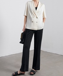 【chuclla】【2021/SS】Center crease slit pants sb-4 chw1470ブラック