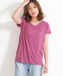 Social GIRL(ソーシャルガール)のシンプルベーシックVネックとろみ半袖Tシャツ(Tシャツ/カットソー)