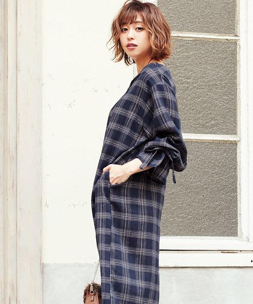 袖リボンデザインチェック柄ワンピース*/レディース[E1922]神戸レタス