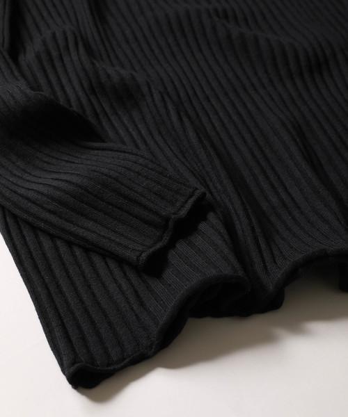 【wjk black】《WEB限定》ルーズフィット ワイド リブ ニット ロール クルーネック プルオーバー