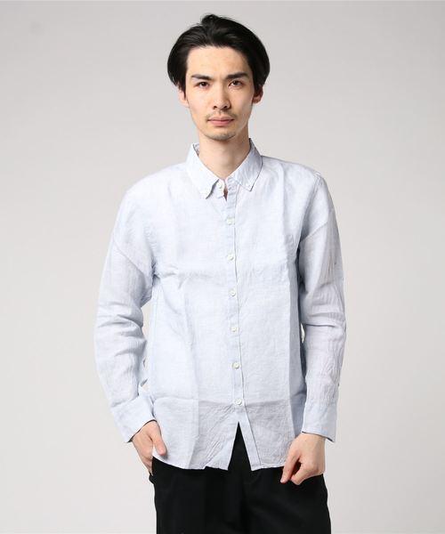 ハードマンコンチネンタルリネンミニ襟ボタンダウンシャツ