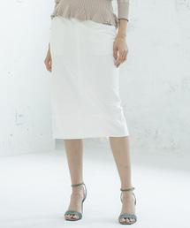 【STYLEBAR】ミリタリーデニムタイトスカートオフホワイト