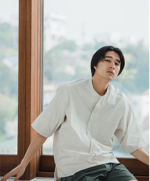 【さまになるプルオーバーシャツ】☆ ストレッチ タイプライター バンドカラー 半袖 シャツ †