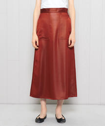 <H>SATIN TRAPEZOID SKIRT/スカート