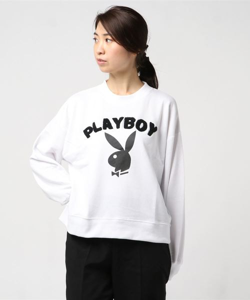 [ PLAYBOY / プレイボーイ ] 裏毛 サガラ刺繍+プリント トレーナー
