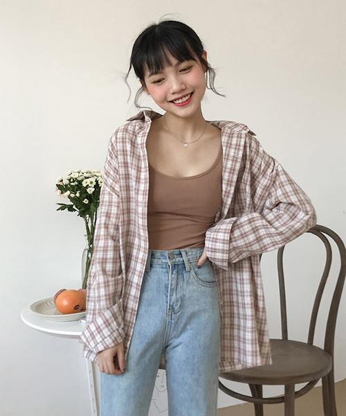 【Mayree】ドロップショルダー ワイドチェックシャツ